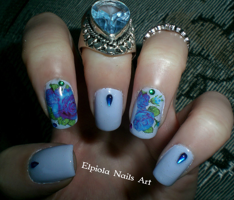 Roses Are Indigo Blue  nail art by Elpiola Lluka