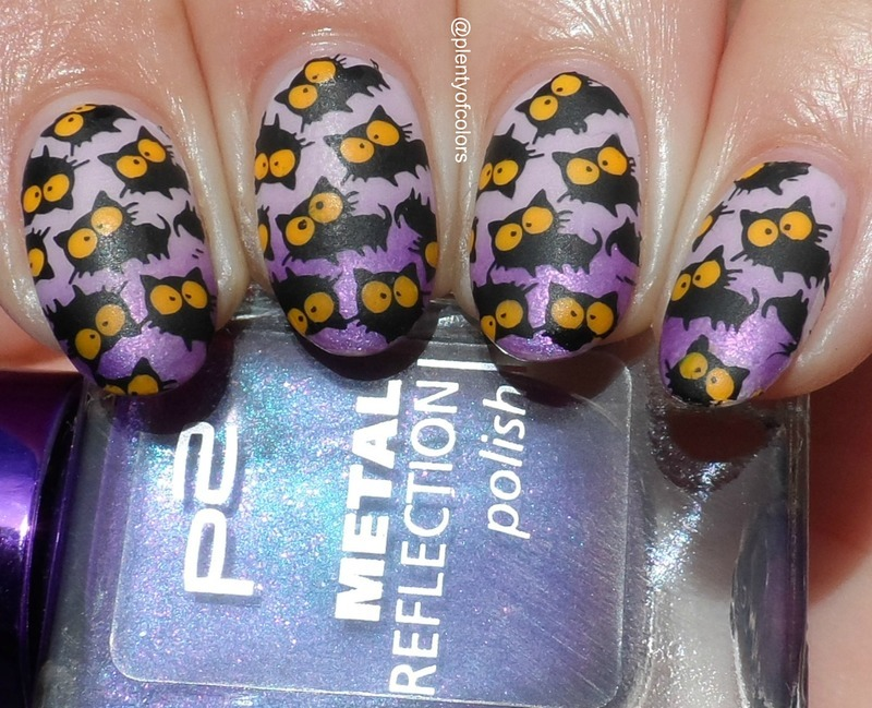 Black Cats nail art by Plenty of Colors