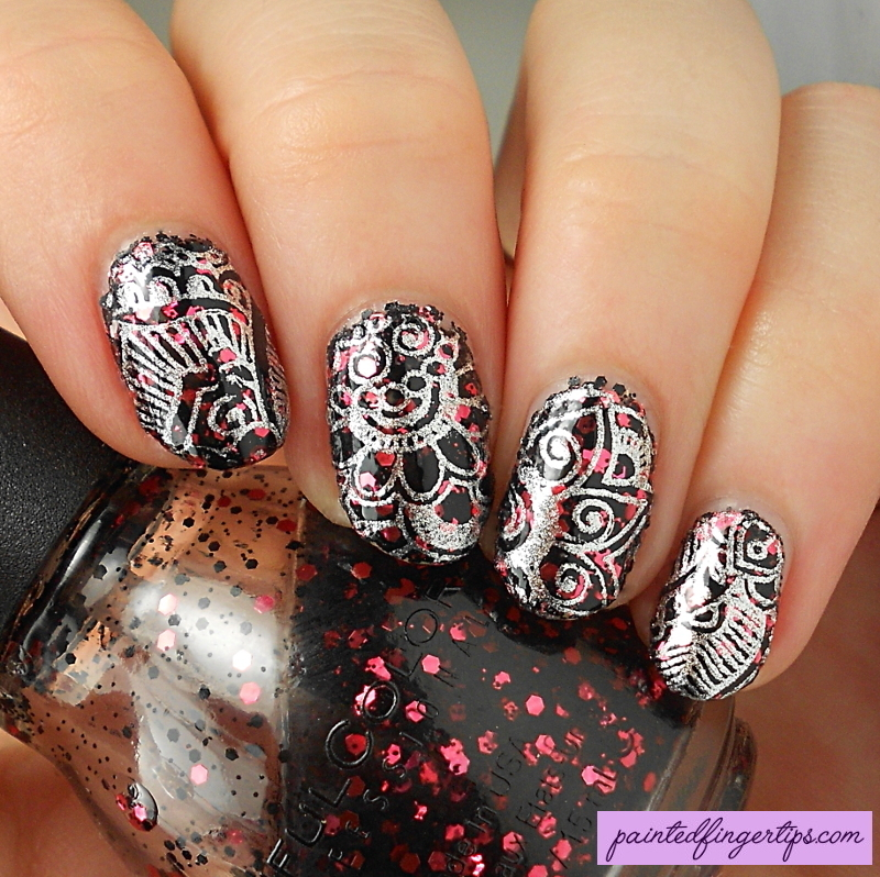 Vampy stamping nail art by Kerry_Fingertips