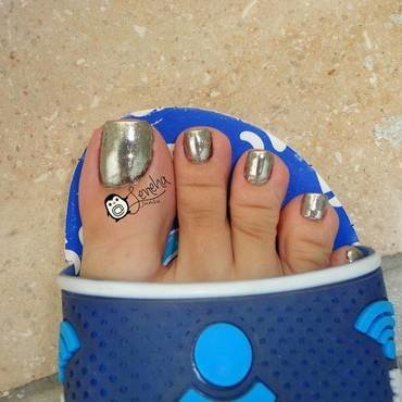 Chrome Toe Nail Art Pedicure nail art by Leneha Junsu