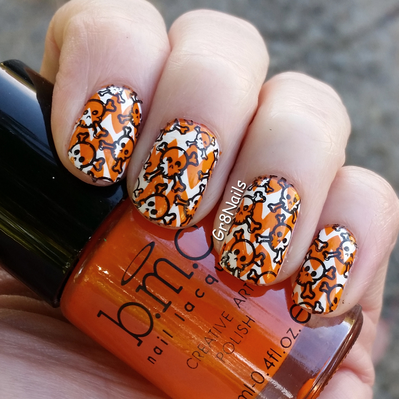 Halloween Double Stamping nail art by Gr8Nails