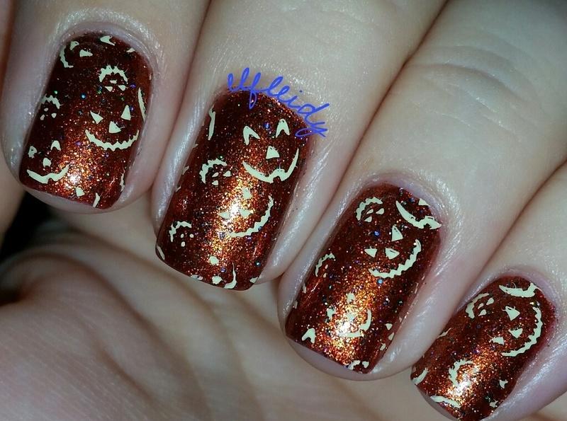 Pumpkin faces nail art by Jenette Maitland-Tomblin