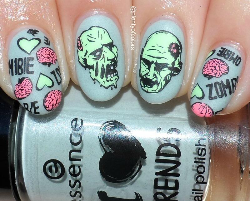 Zombie Love nail art by Plenty of Colors