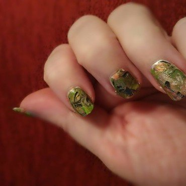 Fall drag marble nail art by tigerlyly