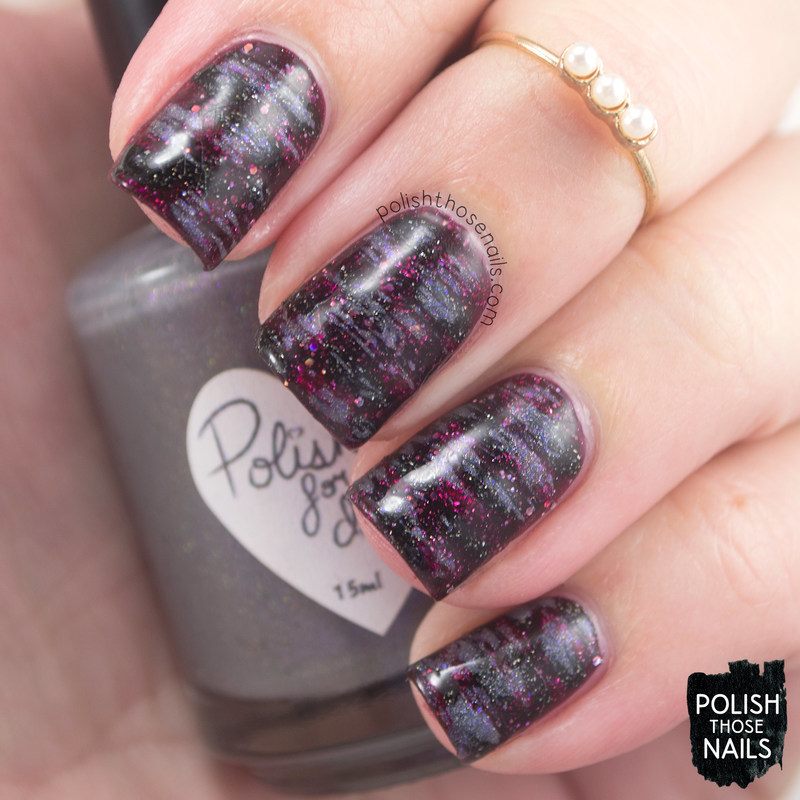 Vampy Distressed Holos nail art by Marisa  Cavanaugh