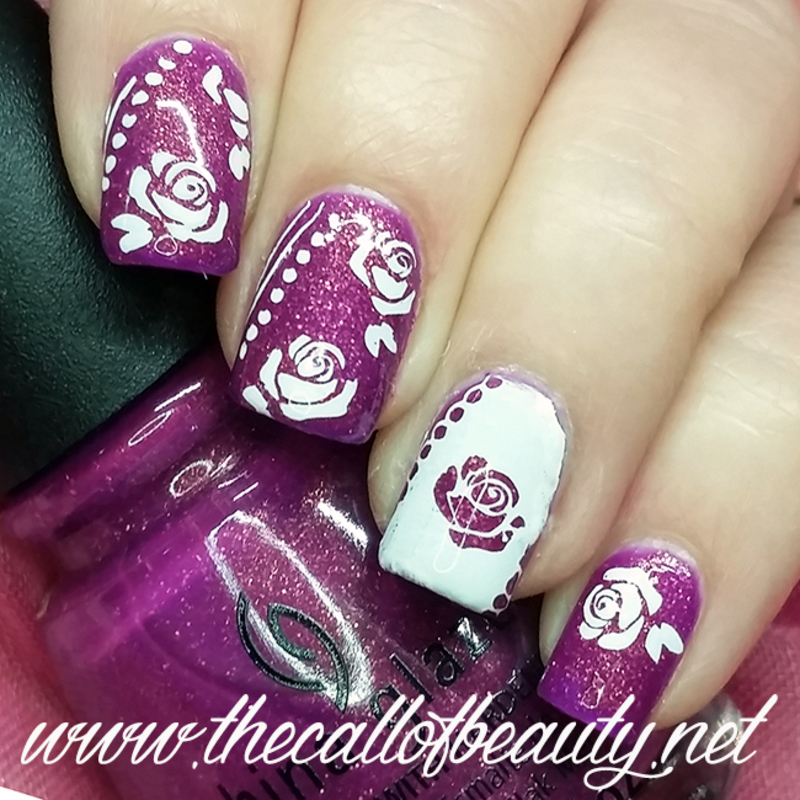 Purple Roses nail art by The Call of Beauty