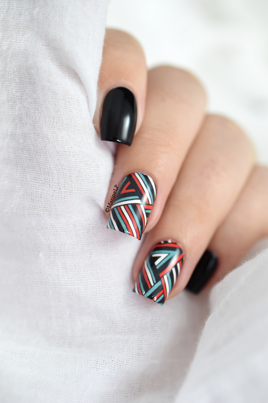 Graphic lines nail art by Marine Loves Polish