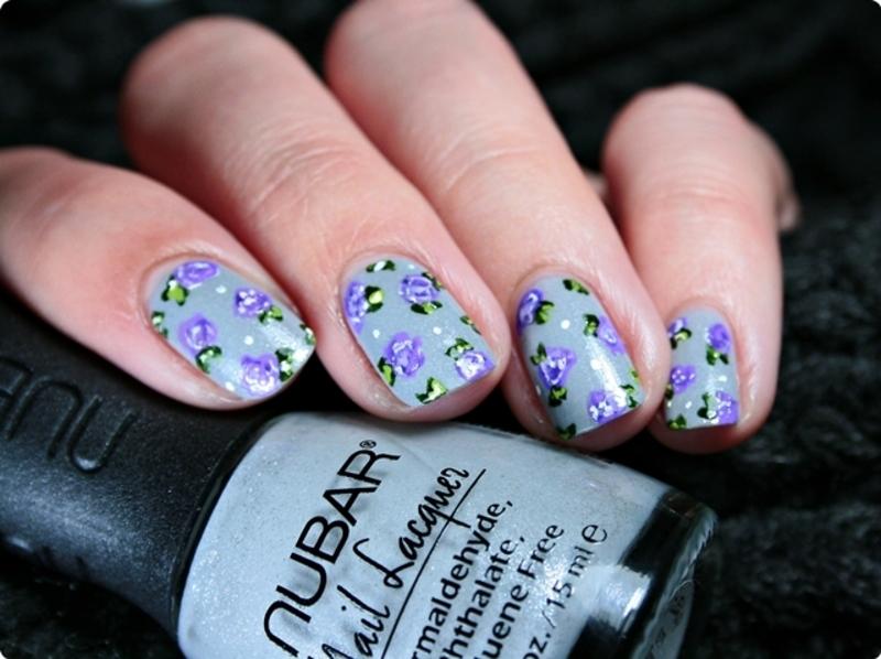 Violet roses nail art by Romana
