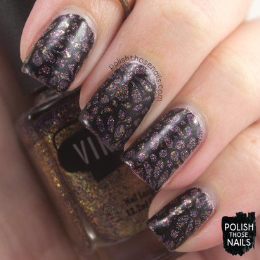 Purple holo glitter black floral lace pattern nail art 4 thumb370f