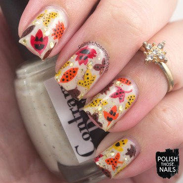 Carved Autumn Leaves nail art by Marisa  Cavanaugh
