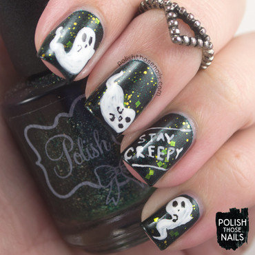 Green glitter cute ghosts stay creepy halloween nail art 4 thumb370f