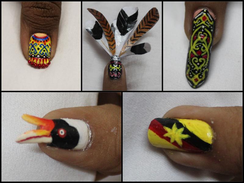 Tribute to Sarawak nail art by Harini Sankar