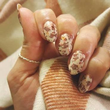 Pumpkin Spice Latte nail art by Alisha Worth