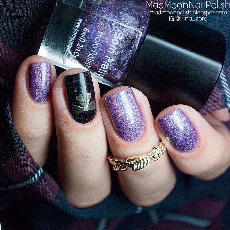 Purple holo lover nail art by Irina Zorg
