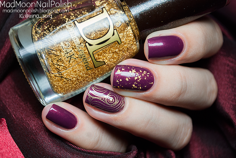 Wine and Gold nail art by Irina Zorg