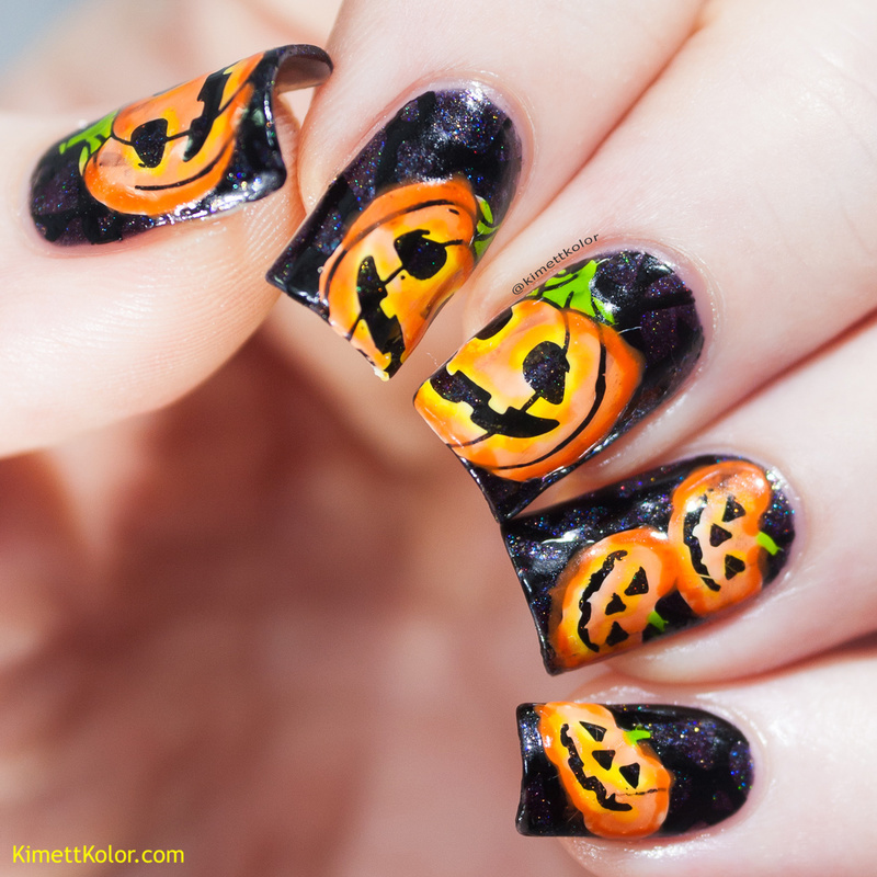 Jack O' Lanterns nail art by Kimett Kolor