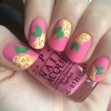 Not pineapples, just flowers nail art by skier2201