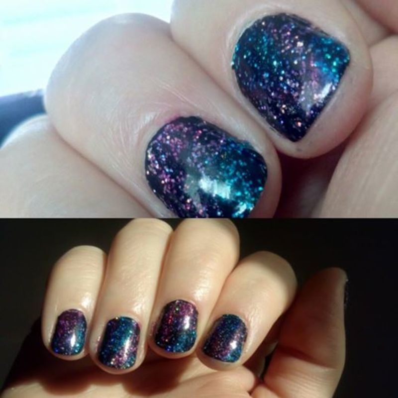 Glitter galaxy nail art by Stephanie