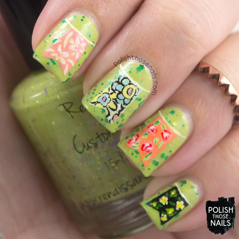 Le Floral Flags nail art by Marisa  Cavanaugh