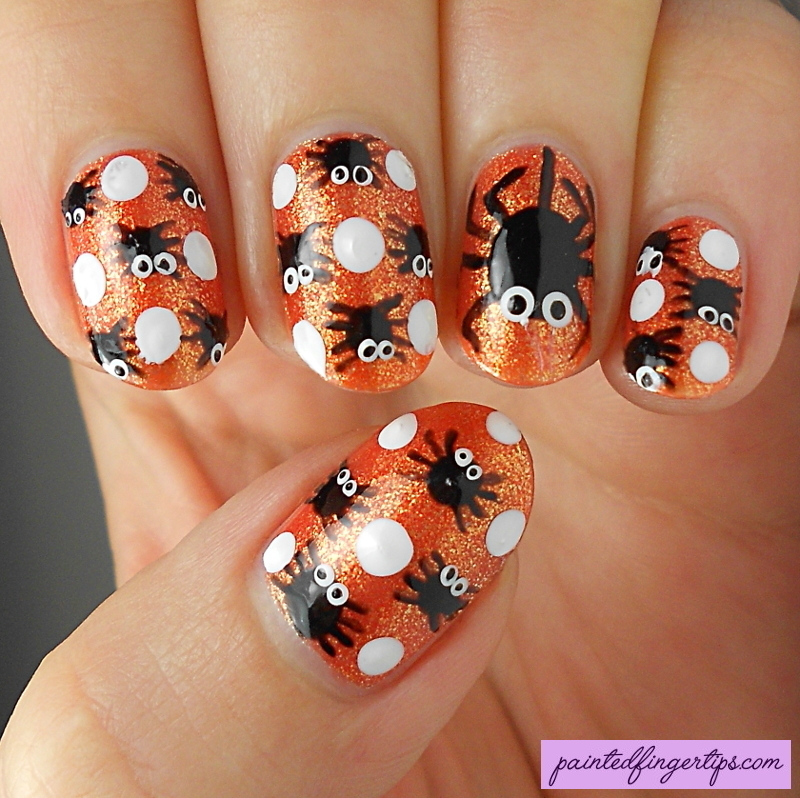 Cute Spiders nail art by Kerry_Fingertips