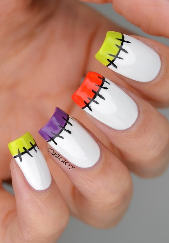 Halloween Stitches French Manicure nail art by Jayne