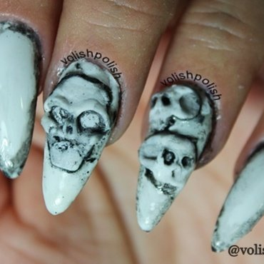 Creepy Skulls nail art by Volish Polish