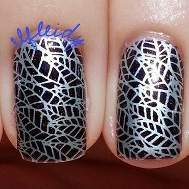 Silver leaves nail art by Jenette Maitland-Tomblin