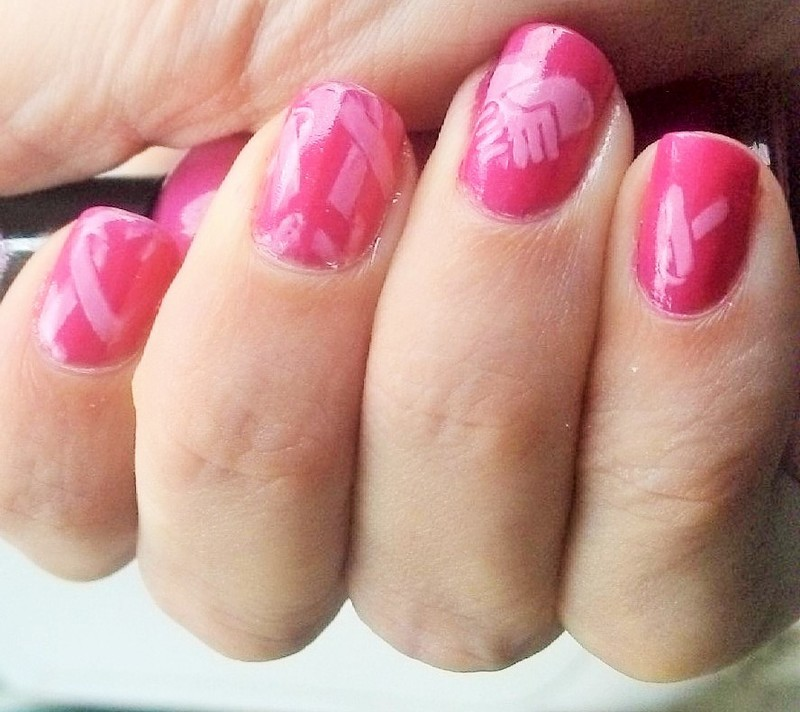 Breast Cancer Awareness nail art by Kristyna