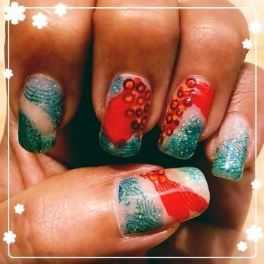 koi pond dotticure nail art by Idreaminpolish