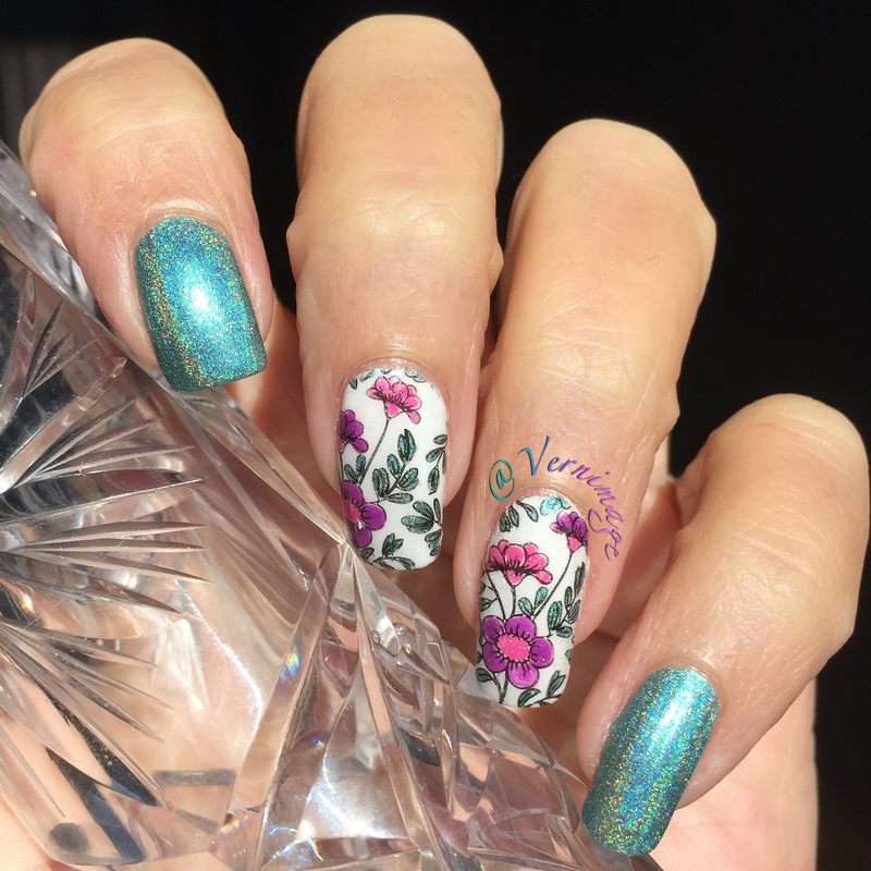 Birthday Flowers - Reverse Stamping nail art by Vernimage