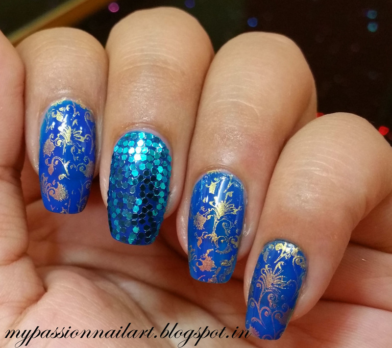 Blue Theme Nails with Hexagonal Glitters nail art by Aditi