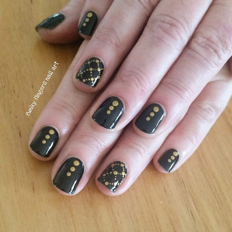 Black with gold dots nail art by Funky fingers nail art