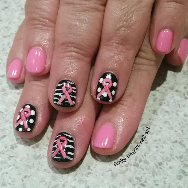 pink ribbon  nail art by Funky fingers nail art