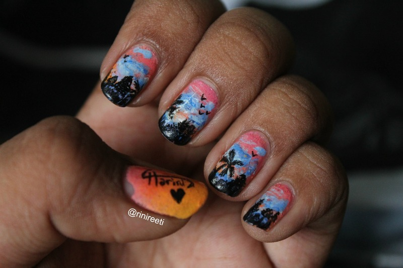 Sunset and temples nail art by Harini Sankar