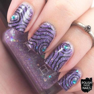 Purple glitter blue rhinestone swirl nail art 4 thumb370f
