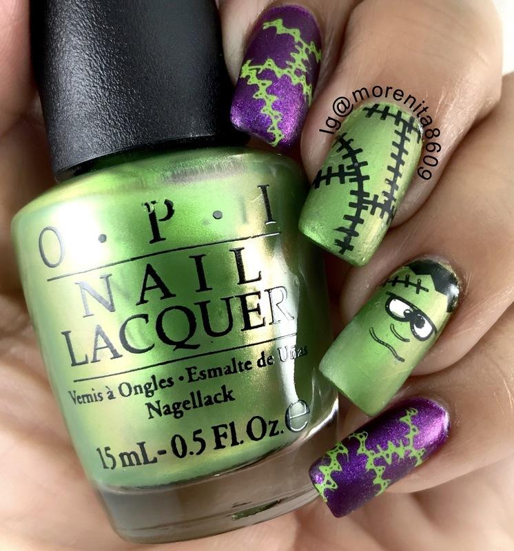 Frankenstein Nails nail art by Morenita  Morena