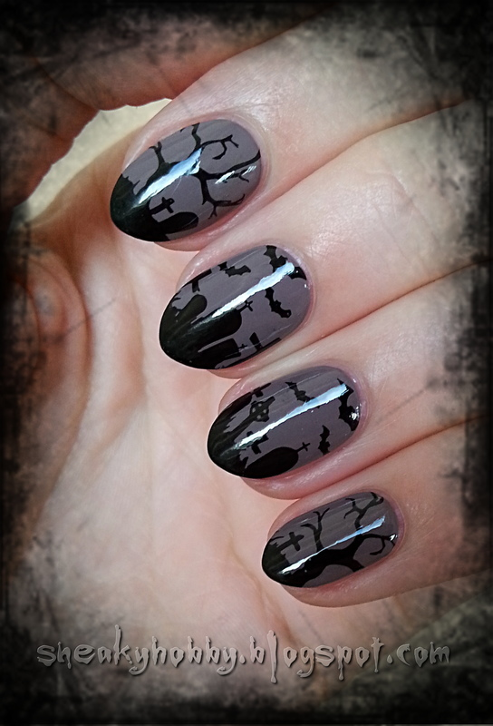 There's No Halloween Without A Cemetery! nail art by Mgielka M