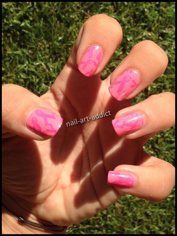 Nail Art : Octobre Rose nail art by SowNails