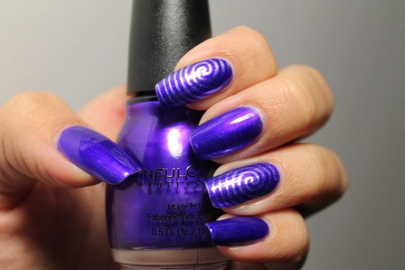 Purple Electric Swirls nail art by Kay's Polish