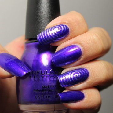 Purple Electric Swirls nail art by Kay's Polish