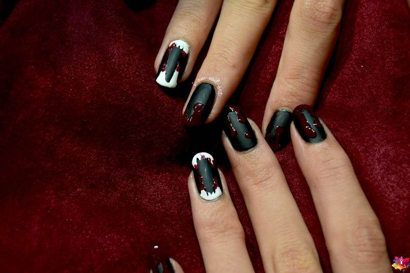 Vampire nail art by i-am-nail-art