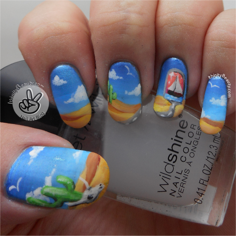 Freehand Desert Highway Portal nail art by Ithfifi Williams