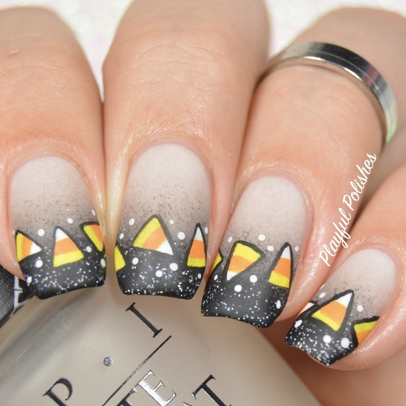Candy Corn Halloween Nails nail art by Playful Polishes