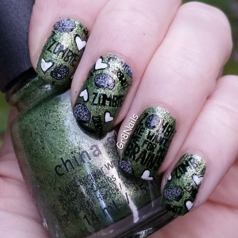 Zombie Love nail art by Gr8Nails