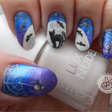 Cat, Bats and Spiders!  nail art by Ithfifi Williams