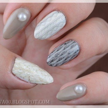 Winter sweater nail art by Jadwiga