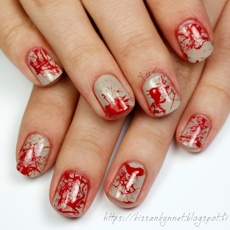 Blood Splatter nail art by Yue