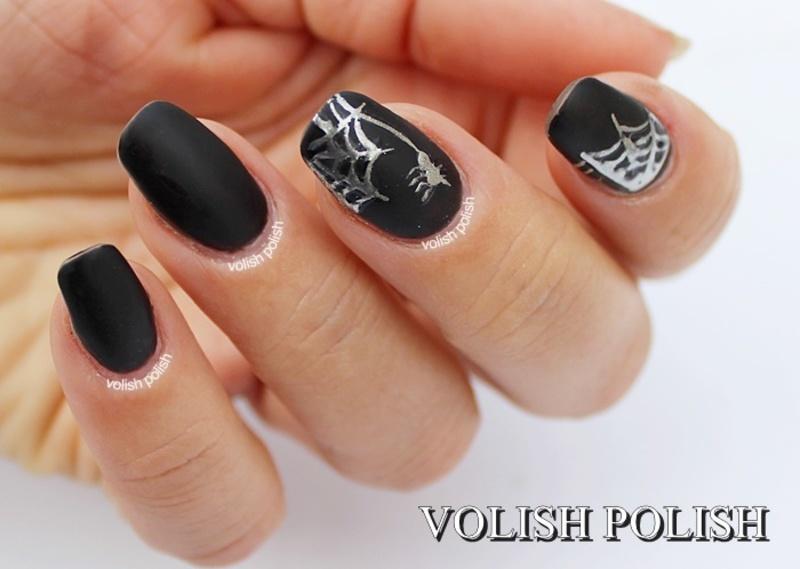 Halloween nail art: Silver spider web nail art by Volish Polish