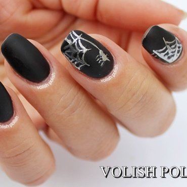 Halloween nail art: Silver spider web nail art by Volish Polish