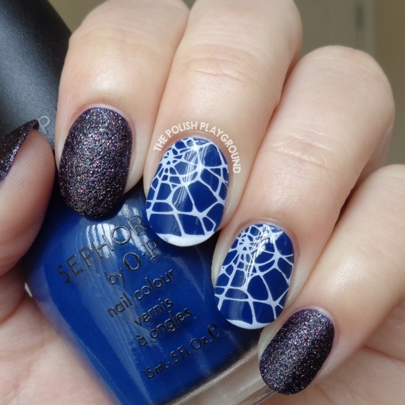 Blacken Texture with Halloween Cobweb Stamping nail art by Lisa N